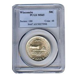 Certified Commemorative Half Dollar Wisconsin MS65 PCGS