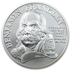 1992 Ben Franklin Firefighters Silver Medal 1oz - Unc