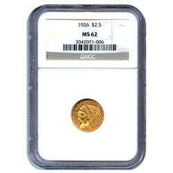 Certified US Gold $2.5 Indian MS62 (Dates Our Choice)