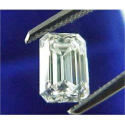 EGL CERT 0.8 CTW EMERALD CUT DIAMOND I/SI1