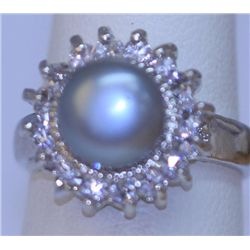 GRAY PEARL AND CZ RING
