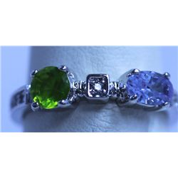 GREEN, LAVANDER AND CZ RING