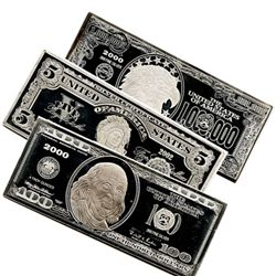 Silver 4 Ounce Bar (Currency Design our Choice), .999 f