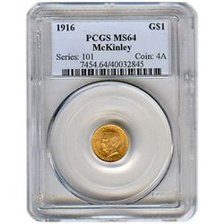 Certified $1 Gold Commemorative McKinley 1916 MS64 PCGS