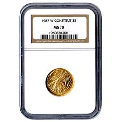 Certified Commemorative $5 Gold 1987-W Constitution MS7