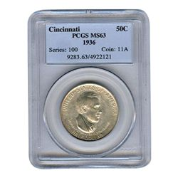 Certified Commemorative Half Dollar Cincinatti MS63 PCG
