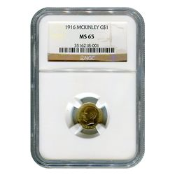 Certified $1 Gold Commemorative McKinley 1916 MS65 NGC
