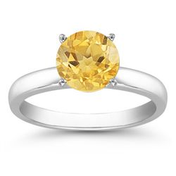 Genuine 2.0 ctw Citrine Solitaire Ring 14kt Gold-White