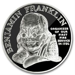 1992 Ben Franklin Firefighters Silver Medal 1oz - Proof