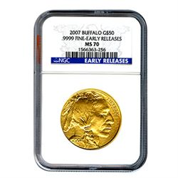 Certified Uncirculated Gold Buffalo 2007 MS70 Early Rel