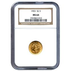 Certified US Gold $2.5 Liberty MS64