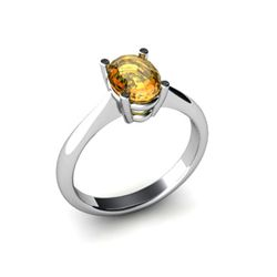 Genuine 0.45 ctw Citrine Ring 14k W/Y Gold