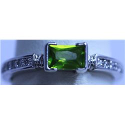 GREEN AND WHITE CZ RING