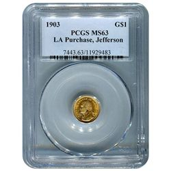 Certified $1 Gold Commemorative Louisiana Purchase Jeff