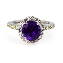 Genuine 1.85 ctw Amethyst Ring 14Kt White/Yellow  Gold