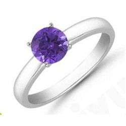 Tanzanite 0.75 ctw Solitaire Ring 14kt W/Y  Gold