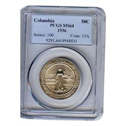 Certified Commemorative Half Dollar Columbia MS64 PCGS
