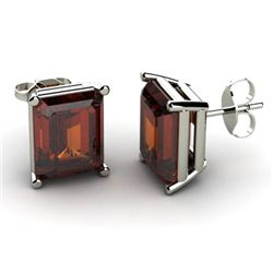 Genuine 7.0 ctw Garnet Earring 14k W/Y Gold