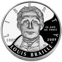 US Commemorative Dollar Proof 2009-P Louis Braille