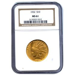 Certified US Gold $10 Indian MS61