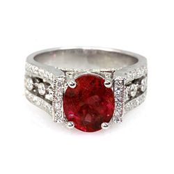 Genuine 3.79 ctw Ruby Ring 14k White/Yellow Gold