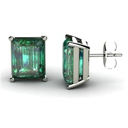 Genuine 11.60 ctw Emerald Earring 14k W/Y Gold