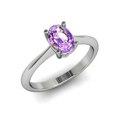 Genuine 0.85 ctw Amethyst Ring 14k W/Y Gold