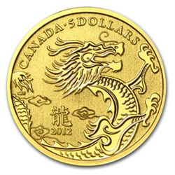 2012 1/10 oz Gold Canadian $5 Lunar Dragon (W/Box & COA