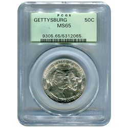 Certified Commemorative Half Dollar Gettysburg MS65 PCG