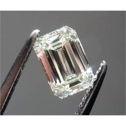 EGL CERT 0.57 CTW EMERALD CUT DIAMOND F/SI2