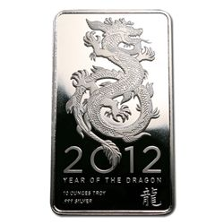 Silver Bars: 2012 Silver Dragon 10 oz Bar .999 fine