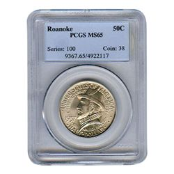 Certified Commemorative Half Dollar Roanoke MS65 PCGS