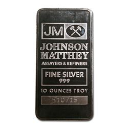 Silver Bars: Johnson Matthey 10 oz Bar (Pressed, JM Log
