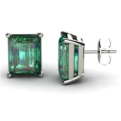 Genuine 9.0 ctw Emerald Earring 14k W/Y Gold