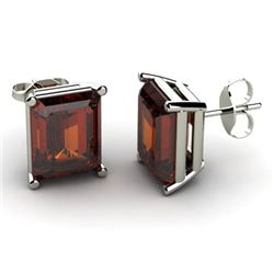 Genuine 5.0 ctw Garnet Earring 14k W/Y Gold