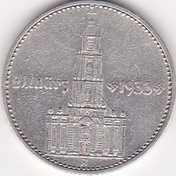 Germany 2 reichsmark 1934, Potsdam Chuch with date