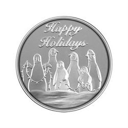 Christmas 2012 Silver Round X-28 Penguins - Half Ounce