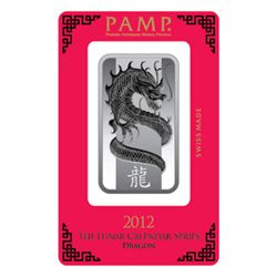 Silver Bars: Pamp Suisse 1 oz Dragon Bar .999 fine
