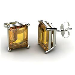 Genuine 8.40 ctw Citrine Earring 14k W/Y Gold