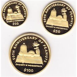 Niue 50th Anniversary of Peanuts gold 3 piece set