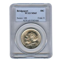 Certified Commemorative Half Dollar Bridgeport MS65 PCG