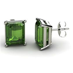 Genuine 4.30 ctw Green Tourmaline Earring 14k W/Y Gold