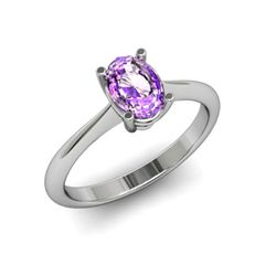 Genuine 0.45 ctw Amethyst Ring 14k W/Y Gold