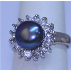 BLACK PEARL AND CZ RING