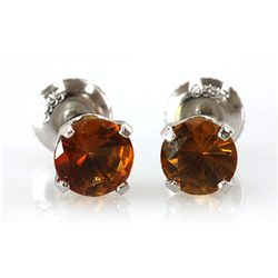 Genuine 4.50 ctw Orange Sapphire Stud Earring 14k 1.1g