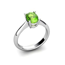 Genuine 0.50 ctw Peridot Ring 14k W/Y Gold