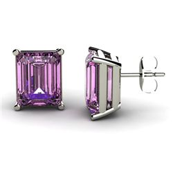 Genuine 8.40 ctw Amethyst Earring 14k W/Y Gold