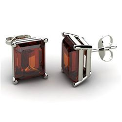 Genuine 8.60 ctw Garnet Earring 14k W/Y Gold