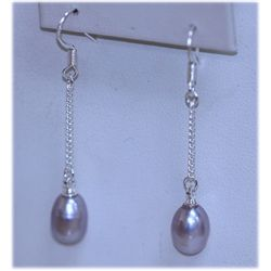 12.10 CTW PURPLE PEAR DANGLING EARRINGS