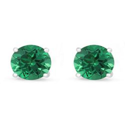 Genuine 3.40 ctw Emerald Stud Earring 14k 0.96g